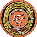 Guitar Cable - 20 ft Instrument Cable for Electric Guitars and Bass Guitars - 1/4 Inch Cable with Right Angle Jack On One End