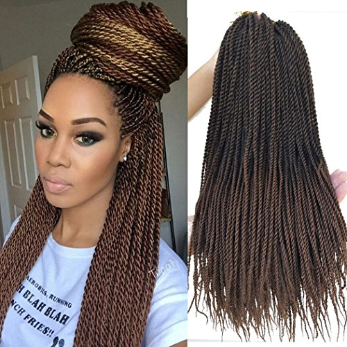 Crochet Twist - Flyteng 18 inch 8 Packs Senegalese Twist Crochet Braids Hair 30strands/pack High Tempreture Fiber Synthetic Hair Extensions T1B/30...