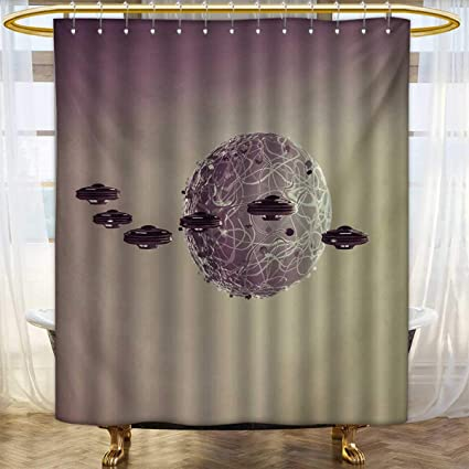 GalaxyShower Curtains WaterproofSmall Planet Under UFO Death Star Fantastic Fictional Outer Space