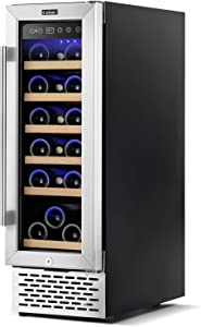Colzer Elegant 12 Inch Wine Cooler, 18 Bottle Mini Wine Cellars with 2 Glass Doors Professional Compressor Precise Humidity Control Durable Materials Fashion Design Built-in or Freestanding Wine Refrigerator
