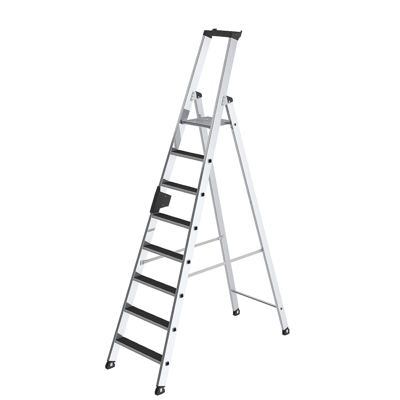 Stufen-Stehleiter einseitig begehbar 10 Stufen Alu-Leiter Alu-Stufenstehleiter Aluleiter Aluleitern Bockleiter Leiter Stehleiter Stufenleiter geriffelt