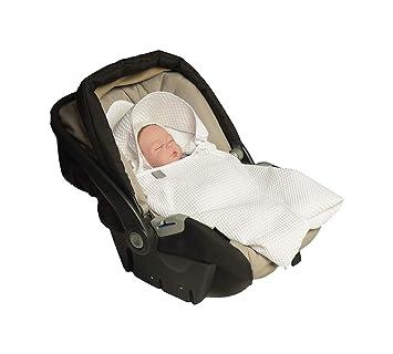 MoMika , Manta enveloppante, universal para portabebés, Auto asiento, para carrito, Paseo o cuna, de piqué 100% algodón , 80x80cm