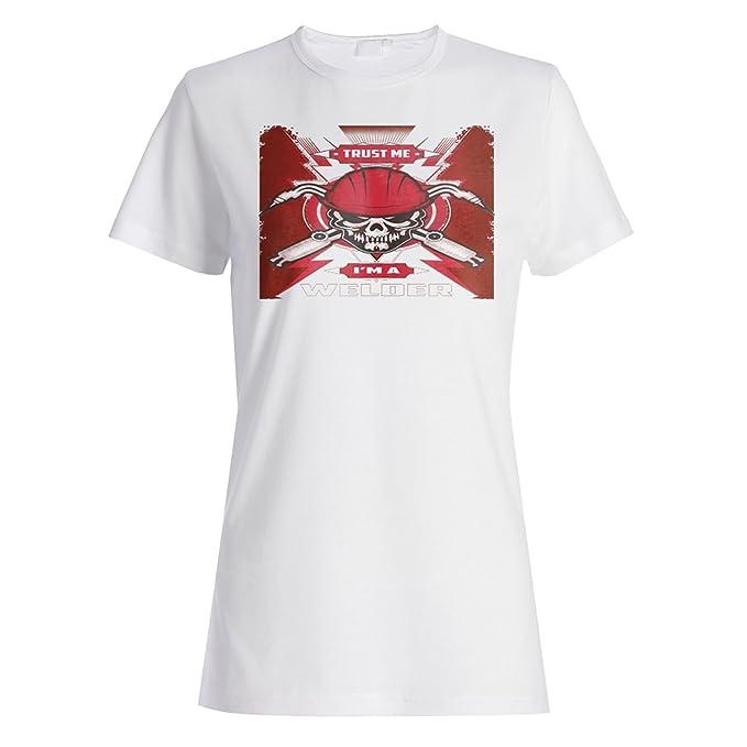INNOGLEN Confía en mí Soy un Cráneo Soldador Camiseta de Las Mujeres z961f: Amazon.es: Ropa y accesorios