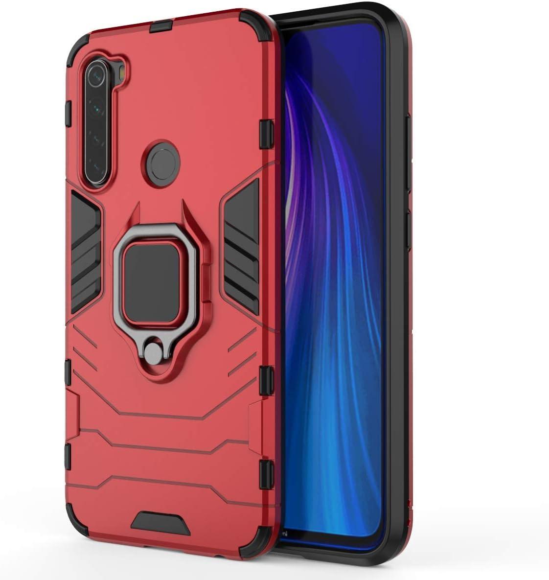 WUFONG Funda para Xiaomi Redmi Note 8,Soporte autoportante Auto magnético Suave Paquete de Silicona airbag Todo Incluido Anti-caída cáscara Blanda nuevos Modelos de Marea cáscara Dura-Rojo