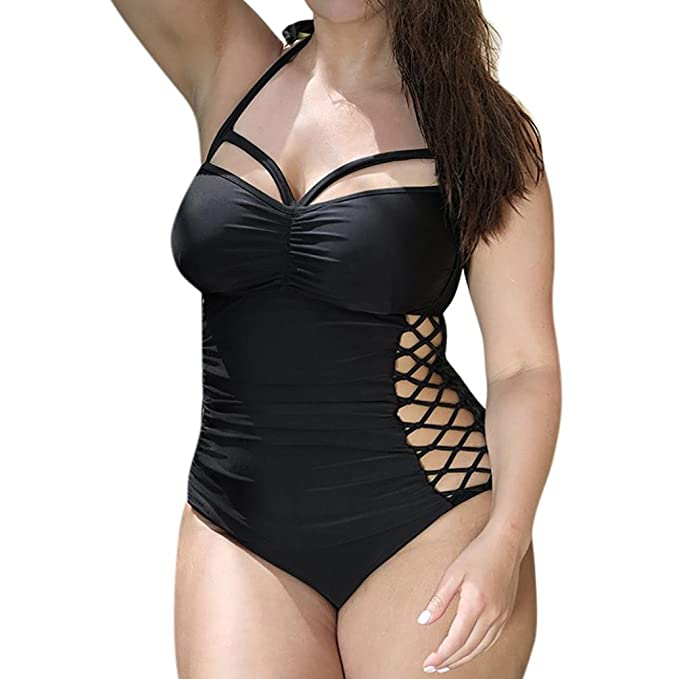 Blau Schwimmanzug Tankini Badeanzug Plus Size Bademode Damen Bikini