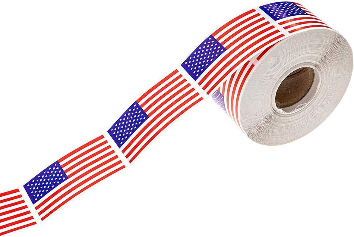 Doraking Rolled 250PCS US National Flag Banner Tape Stickers for Gift Wrap, Food Bag, Decoration, Doraking American US USA Sealing Tape Stickers