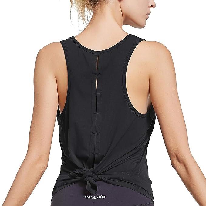 Amazon.com: Baleaf - Camiseta de tirantes para yoga, correr ...
