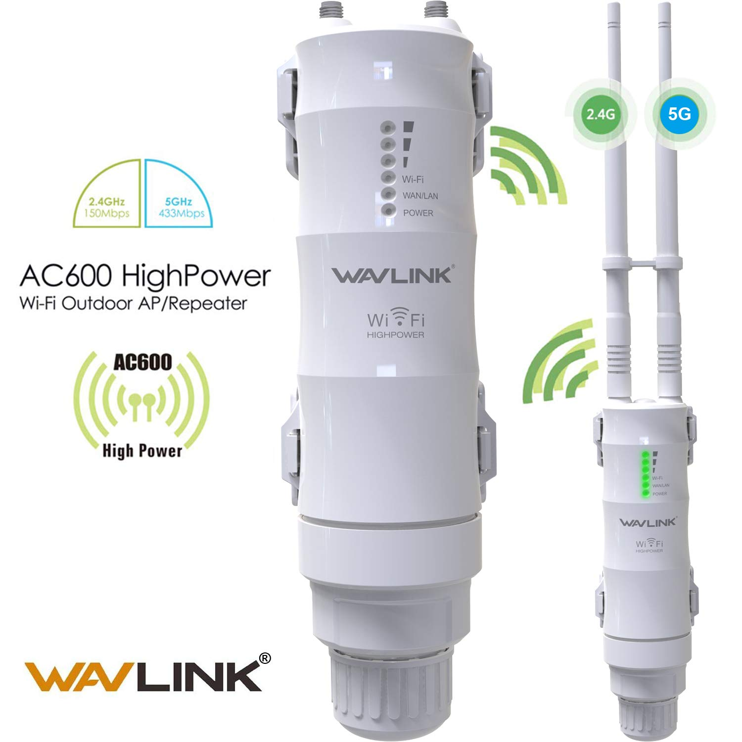 [Upgrade Version] WAVLINK-WN570HA1-AC600 Outdoor 3 in 1 Dual Band 2.4+5G 600Mbps Wireless Access Point (AP)/ Router/WiFi Extender Range Repeater Internet Signal Booster Amplifier in PoE & 2 Antennas by WAVLINK
