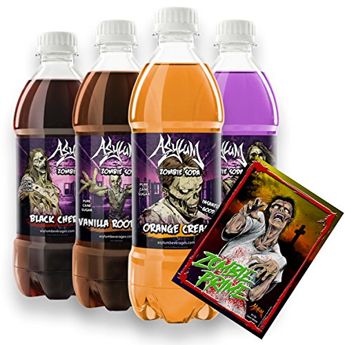 Asylum Zombies Variety Pack Soda Pop (4 / 20oz) w/ Jason Moore Zombie Art Poster Comic Book Artist made w/ Real Fair Trade Pure Cane Sugar & No Caffeine Frustration Free Box (Variety 4 PET bottles) (Best Non Horror Halloween Movies)