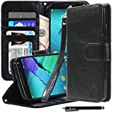Style4U Moto X Pure Edition Case, Moto X Style Case, Premium PU Leather Stand Wallet Case with ID Credit Card/Cash Slots for Motorola Moto X Style/Pure Edition (2015 Release) + 1 Stylus [Black]