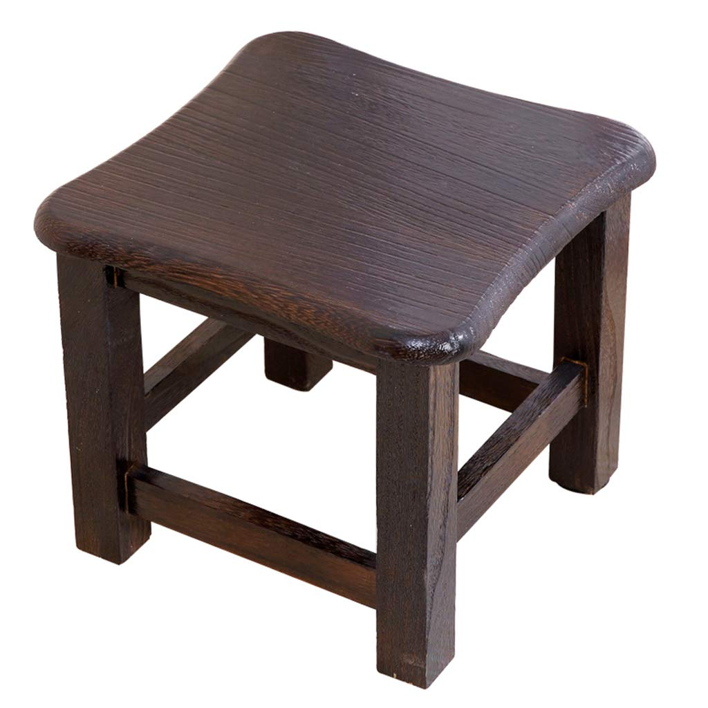 Solid Wood Small Stool Foot Stool Square Seat Kids Learning Stool Children Step Stool Toddler's Stool for Potty Training Mini Chair for Living Room Bedroom Kitchen Garden and Fishing Camping