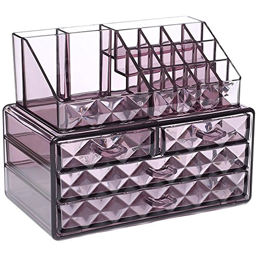 Ikee Design Acrylic Purple Diamond Pattern Jewelry & Cosmetic Storage Display Boxes Two Pieces Set.