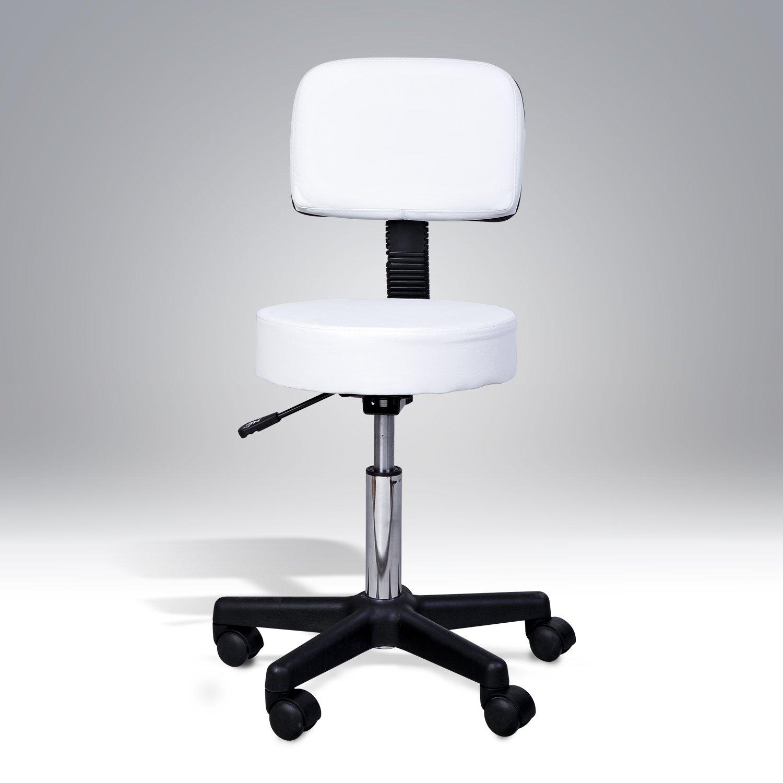 HOMCOM Salon Chair Massage Stool SPA Swivel Health Beauty White Aosom Canada 71-0014