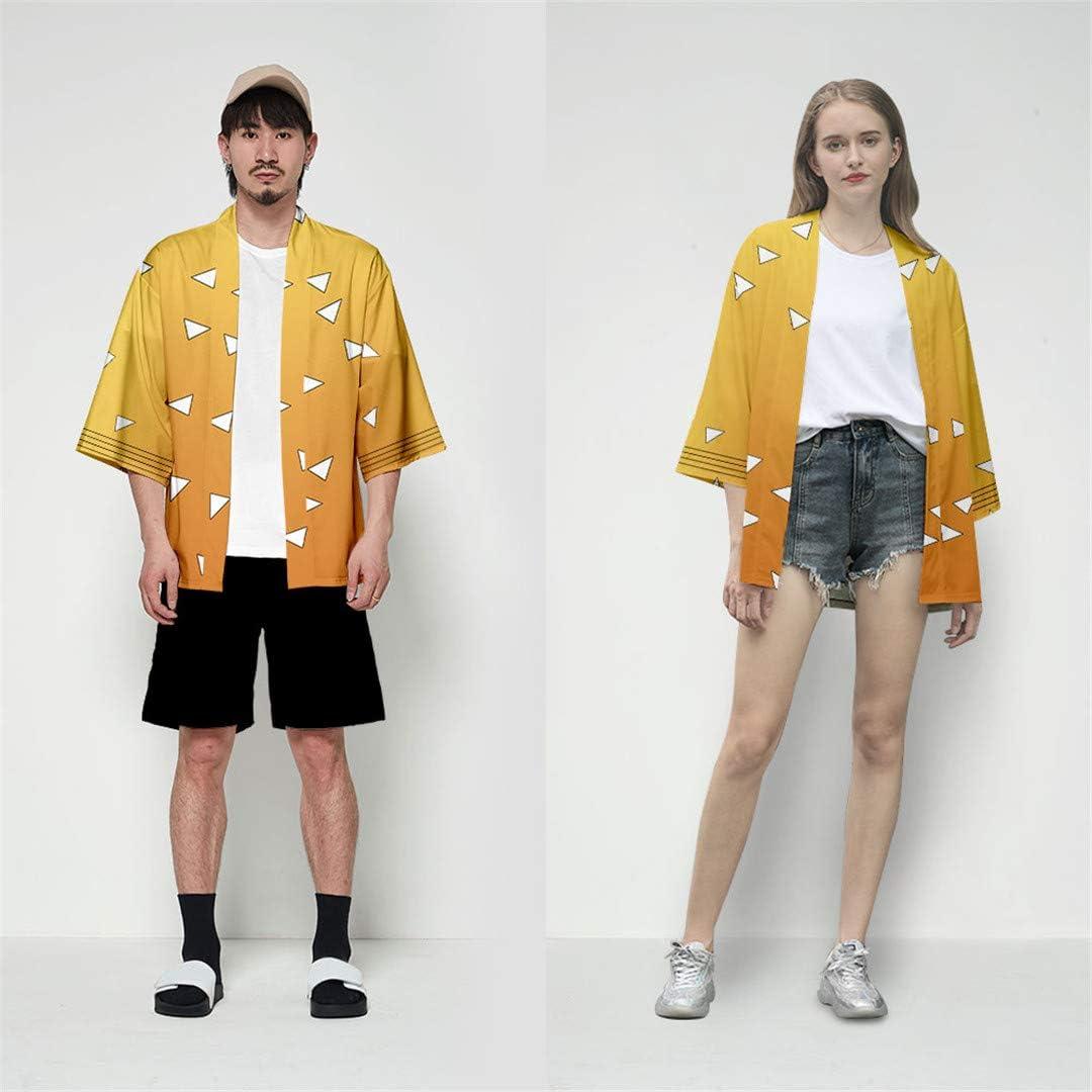 Silver Basic Boys 3 Quarter Sleeve Kimono Demon Slayer Kimetsu No Yaiba Cosplay Costume