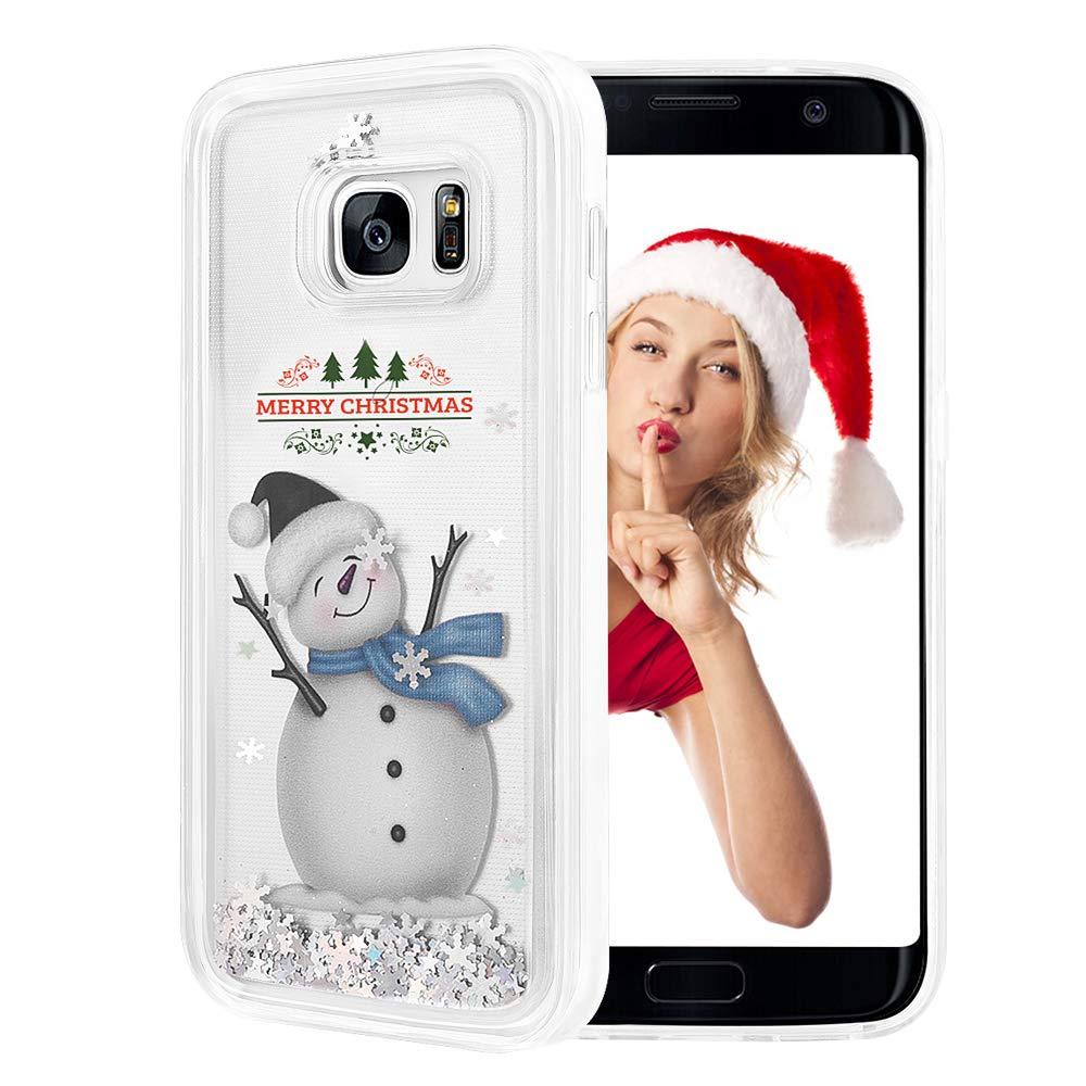 wlooo Handyhülle Samsung Galaxy S7 Glitzer Hülle, Glitzer Süße Flüssig Bewegende Treibsand Fließend Flüssigkeit Funkeln Glitter Quicksand Clear Transparent Silikon Weich TPU Bumper Smartphone Handyhülle Luxury Mode 3D Bling Cute Original Schutzhülle für Sa