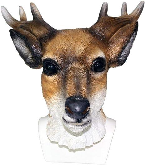 Máscara de Ciervo Animal Látex Traje de Reno de Cabeza Completa ...