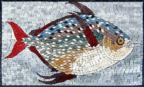 Pesce colorato mosaico marmo fatto a mano piastrelle pietra