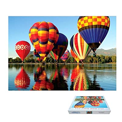 DTgirl Riverside Hot Air Balloon Jigsaw Puzzles 1000 Pieces for Adults Children's Puzzle Toy, Landscape Jigsaw Puzzle, DIY Collectibles Modern Home Decoration 27.56 x 19.69 inch: Toys & Games
