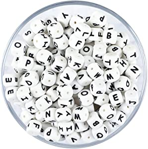 Silicone Beads 104pcs DIY Beads BPA Free Alphabet Letter Beads Bulk for Baby Name / Letter