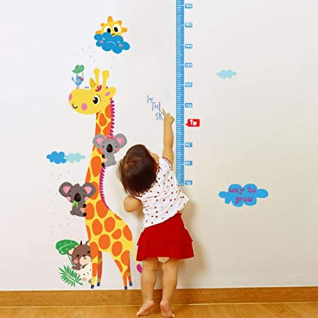 Wall stickers animal zoo height chart large Decor Removable Nursery Kids Baby