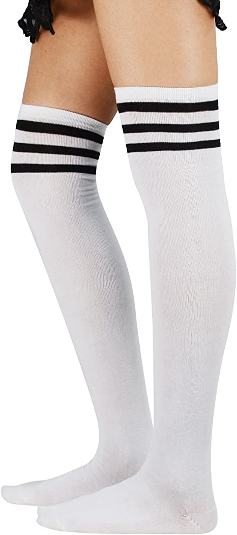 New Stunning Striped Thigh High Long Hosiery Over Knee Dress Socks Stockings E