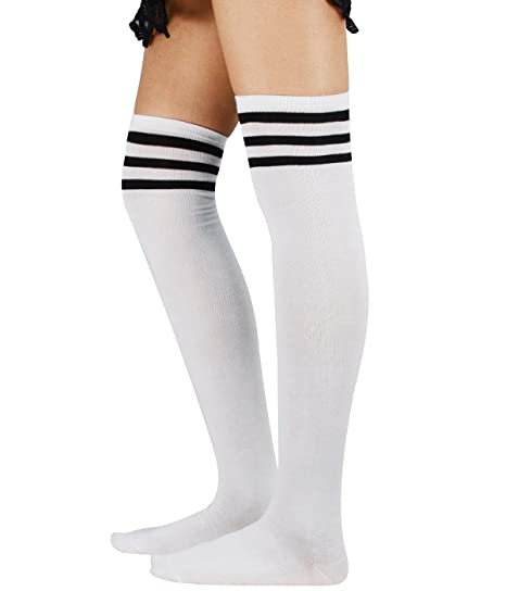 cf7feb0ce322 Image Unavailable. Image not available for. Color  Over Knee Thigh Socks  High Stockings Knitted Women ...
