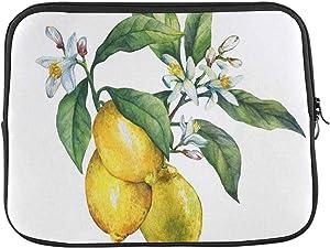 INTERESTPRINT Laptop Sleeve Branch of The Fresh Citrus Fruit Lemon Green Leaves Flowers Notebook Neoprene Pouch Case Bag 13 Inch 13.3 Inch