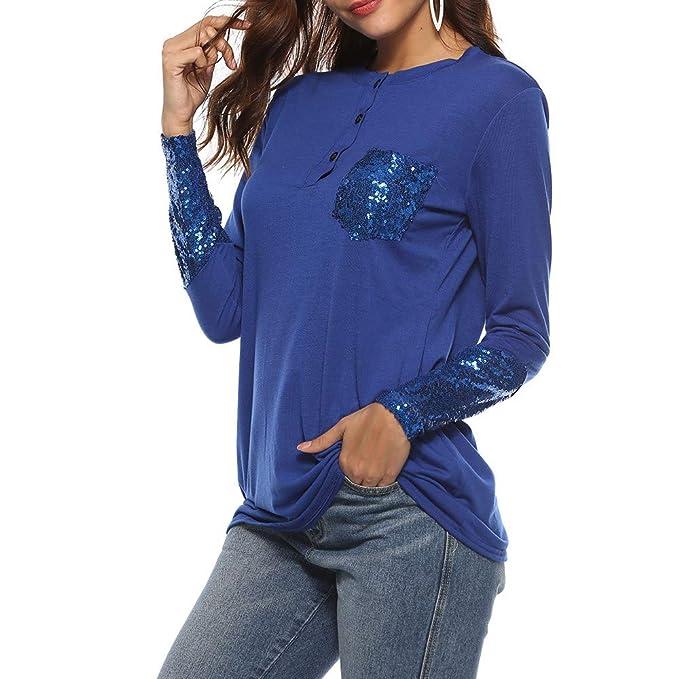 2018 Ropa Las Mujeres de Manga Larga Ocasionales Blusa Suelto de botón con Bolsillo Camisa túnica Tops Camisa: Amazon.es: Ropa y accesorios