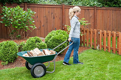 Marathon Dual-Wheel Residential Yard Rover Wheelbarrow and Yard Cart - Green by Marathon Industries (Image #2)