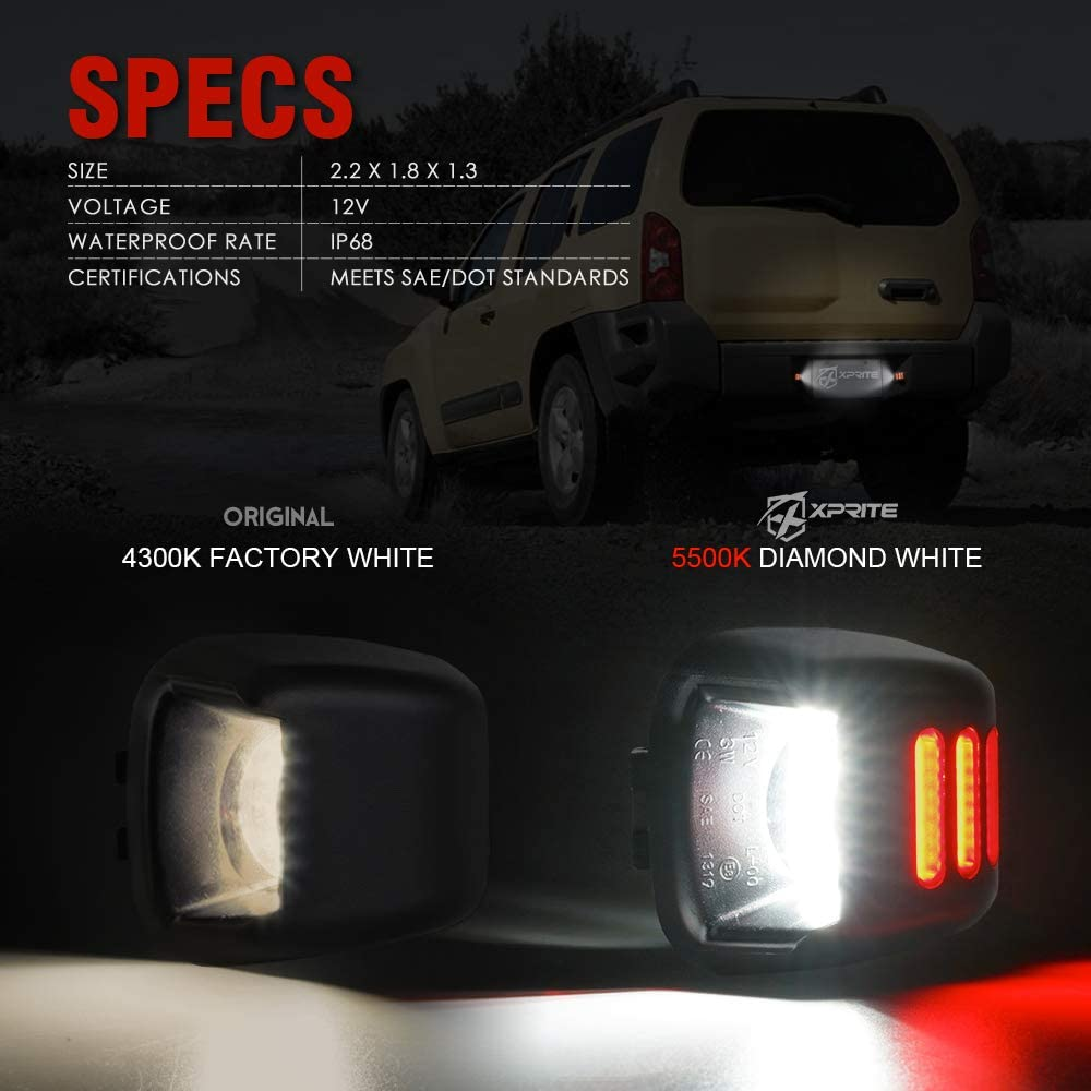 Pair Xprite Full LED License Plate Light Tag Lamp Assembly Replacement For Nissan Armada//Frontier//Titan//Xterra//Suzuki Equatorx