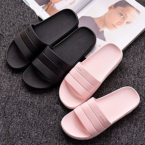 Minetom® Women Men Slip On Slippers Unisex Non-Slip Shower Sandals House Mule Soft Sole Bathroom Water Pool Shoes Indoor Outdoor Flip Flop A Black (Women/Men) 5ILU3y
