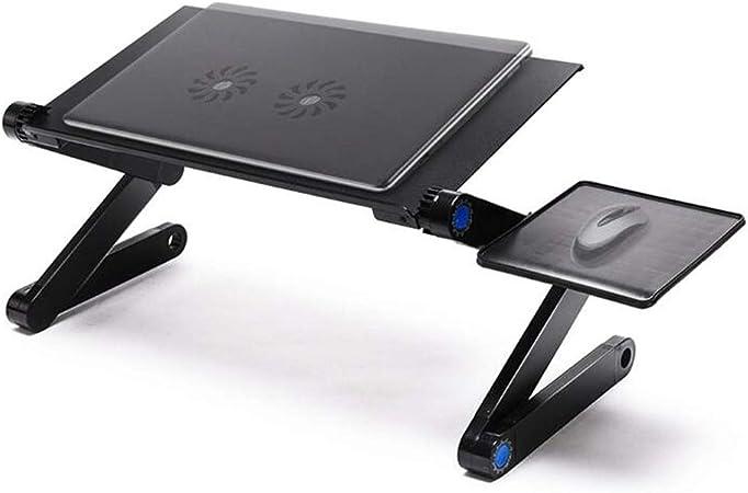BABIFIS - Mesa ergonómica Ajustable para Ordenador portátil, Soporte para Ordenador portátil, Soporte para portátil con Alfombrilla de ratón y Ventilador de refrigeración Dual (2X): Amazon.es: Hogar