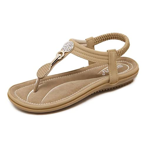1b1adfaead84 Amazon.com  Women s Gladiator Sandals Glitter T-Strap Summer Thong Flat  Sandals Beach Slingback Flip Flops  Shoes