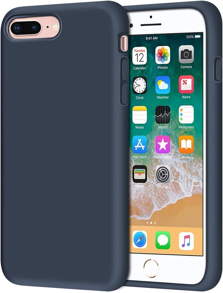 """iPhone 8 Plus Case, iPhone 7 Plus Case, Anuck Soft Silicone Gel Rubber Bumper Case Microfiber Lining Hard Shell Shockproof Full-Body Protective Case Cover for iPhone 7 Plus /8 Plus 5.5"""" - Dark Blue"""