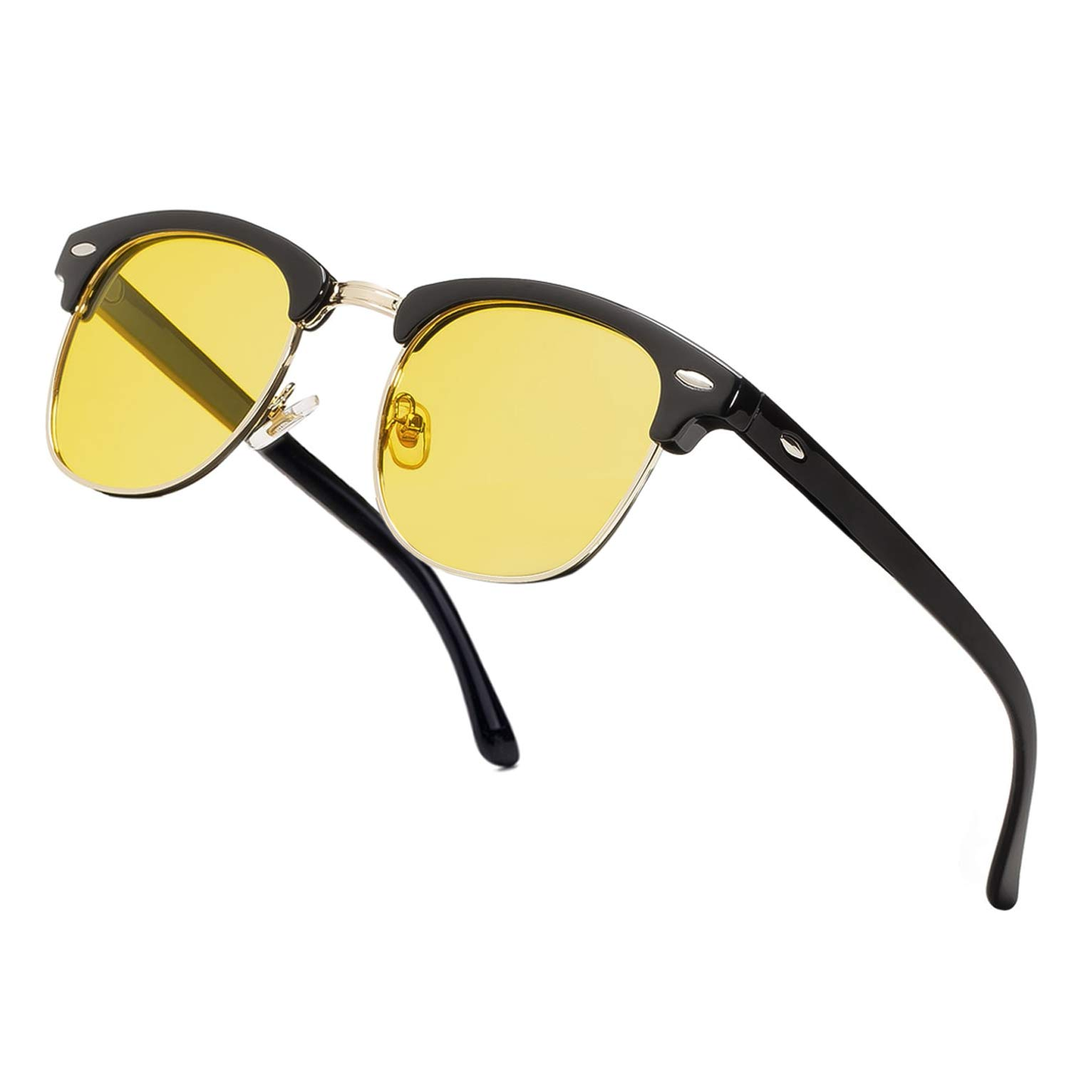 Semi Rimless Polarized Sunglasses Classic Brand Sun Glasses With Metal Retro Rivets (Yellow Lens/Black Frame) by NIEEPA