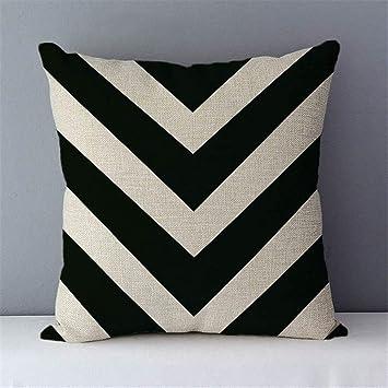 Imagen deDHJZS 2pcs Almohada geométrica Sofá Cojín Decorativo del hogar Almohadas de algodón de Lino 45x45cm Asiento Cojines de Respaldo de Cama Funda de Almohada (Color : C4 14)