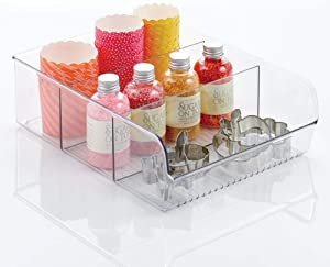mDesign Plastic Food Storage Bin with Divided 3 Compartments and Sloped Front for Kitchen Cabinet, Pantry, Shelf to Organize Seasoning Packets, Powder Mixes, Spices, Snacks - 12