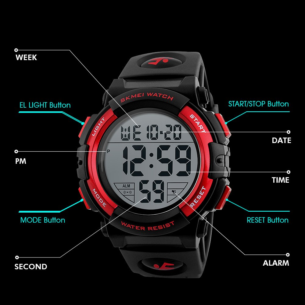 Amazon.com: Boys Watches Sport Waterproof Digital Wristwatch for Boys Age 8+ Black: Watches
