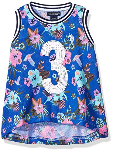 U.S. Polo Assn. Little Girls' Hummingbird and Floral Print Mini Mesh Tank Top, Vintage Blue, 6X - Polo Cotton Tank Top