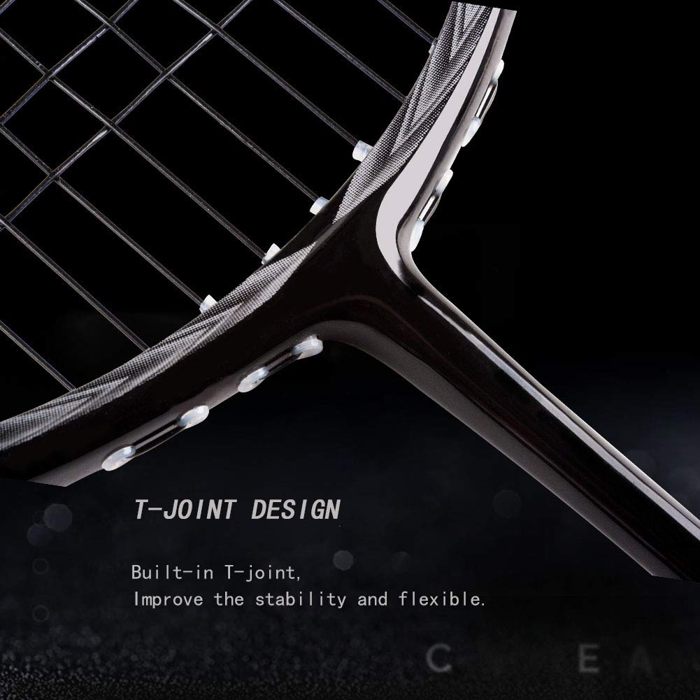 Senston N80-YT Jointless Badminton Racket Single High-Grade Badminton Racquet Carbon Fiber Badminton Racket Gold with Racket Cover and Overgrip by Senston (Image #6)