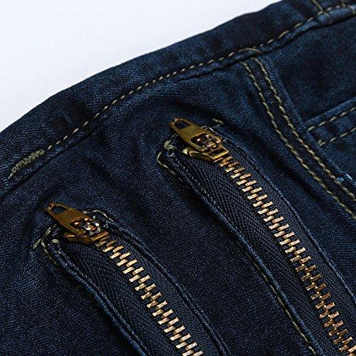 Casual Pantalon lastique Chic Femme Bleu Sunenjoy Taille Jeans Crayon Legging Fitness Jeans Slim Grande Denim FqcO1P7U