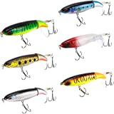 6PCS Whopper Plopper Bass Lures Fishing Lures for Bass, Topwater Bass Lure with Floating Rotating Tail Bait, Bass Fishing wit