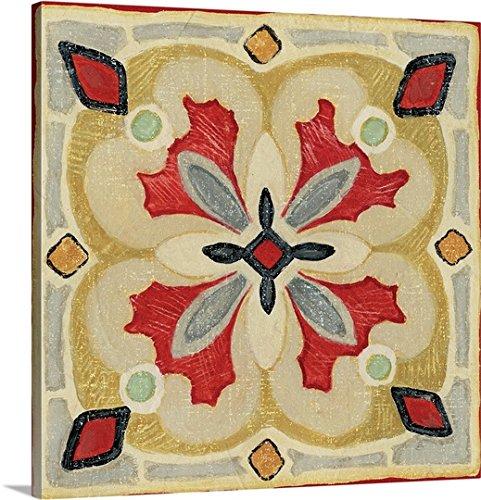 Daphne Brissonnet Premium Thick-Wrap Canvas Wall Art Print entitled Bohemian Rooster Tile Square III 36