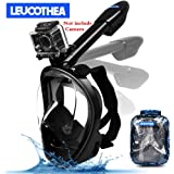 LEUCOTHEA 2018 Full Face Snorkel Mask 180°Panoramic View Anti-Leak Anti-Fog with Camera Mount Earplugs Portable Bag Foldable Diving Mask Breath Design Snorkeling Gear for Adult & Youth