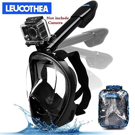 b8917ecbe35e LEUCOTHEA 180° Full Face Snorkel Mask -Panoramic View with Detachable GoPro  Mount Earplugs  Portable Bag