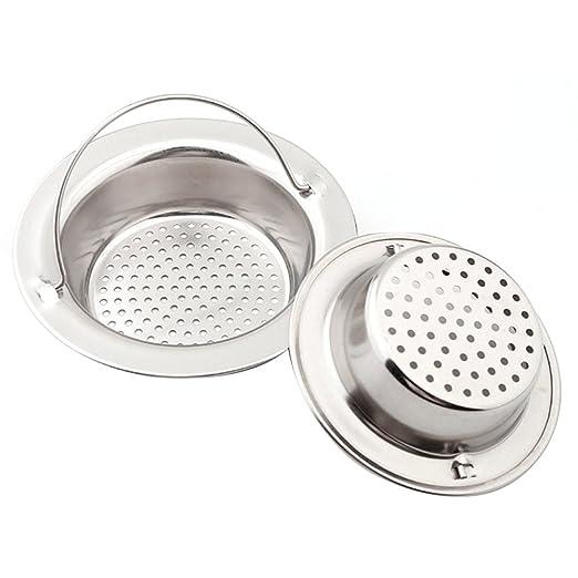 Gosear - 2 Piezas Filtro Fregadero, Colador para Acero Inoxidable Fregadero de Cocina, Colador de Desagüe Fregadero Baño Ducha 11 cm de diámetro