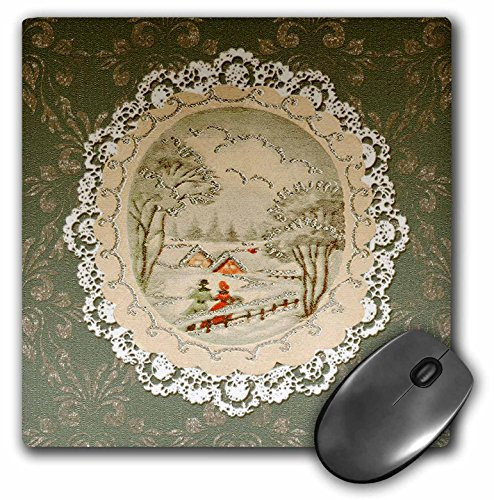 (3dRose Beverly Turner Christmas Design - Couple in Snow Scene, Vintage Postcard Look with Lace, Green - MousePad (mp_195861_1))