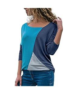 ❤️ Camiseta de Mujer Empalme Color,Moda Casual Patchwork Color Block O-Cuello de Manga largaBlusa Top Otoño Absolute