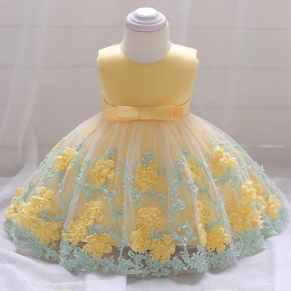 IBTOM CASTLE Baby Girls Flower Christening Wedding Princess Baptism Dresses for Toddler Kids Gown Photography