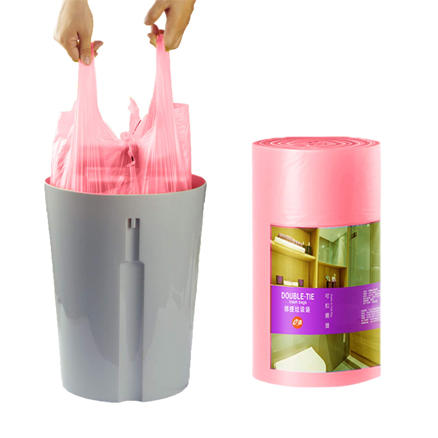 Small Garbage Bags 4 Gallon pink Kitchen Trash Bags, 90 Counts,Durable Multipurpose Everyday Use Trash Liners for Bathroom, Bedroom, Home, Office, Car,Trash Cans, Biodegradable Waste bin Bags